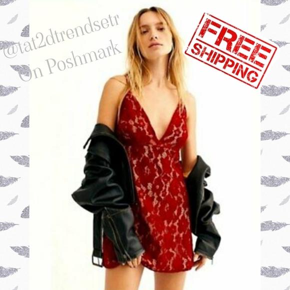NWOT Free People Dangerous Love Lace Mini Dress